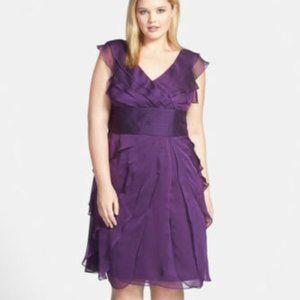 Adrianna Papell Purple Chiffon Tiered Ruffle Dress